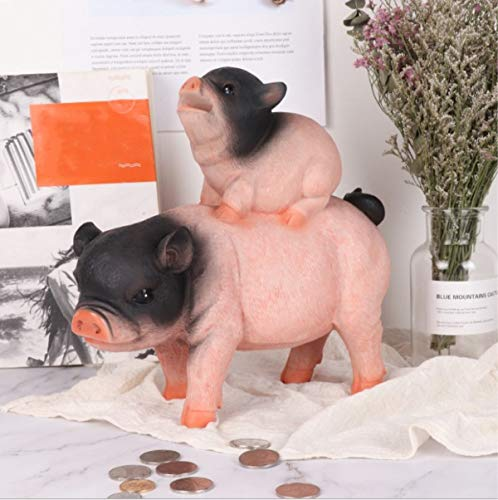 Estars Large Pig Piggy Coin Money Savings Bank for Quarters Cashes for Birthday Gift (Two Pigs- Black & Pink Mixed) ()