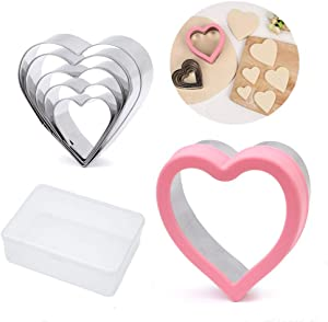 "BakingWorld Heart Cookie Cutter Set,6 Piece Heart Shapes Stainless Steel Cookie Cutters Mold for Cakes,Biscuits and Sandwiches,1.57""/1.96""/2.36""/2.75""/3.15""/3.63"" Assorted Sizes"
