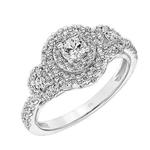 Eternity Ring Diamond Brilliant Round - Brilliant Expressions 10K White Gold 1/2 Cttw Conflict Free Diamond Round Double Halo 3-Stone Engagement Ring (I-J Color, I2-I3 Clarity), Size 7