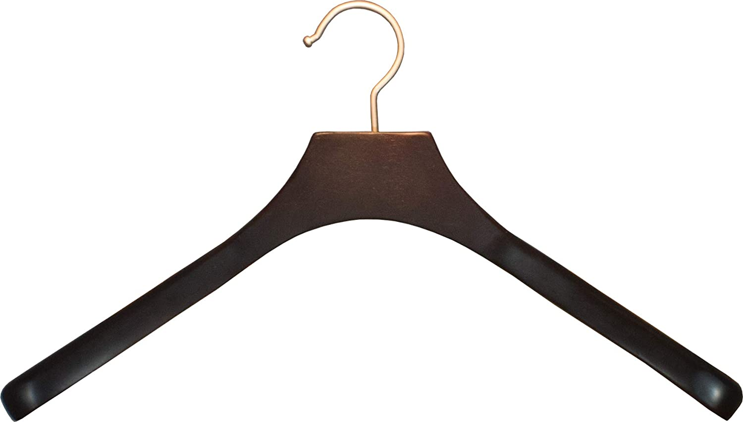Deluxe Oversized木製コートハンガー、Contoured Hangers with 2 Inch Wide肩とつや消しクローム回転フックby the Great Americanハンガー会社 Length 18