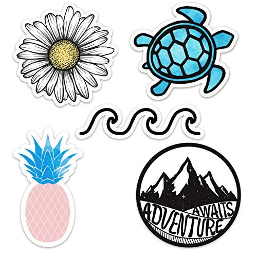 Cute Ocean/Beach Vinyl Laptop and Water Bottle Decal Sticker Pack, Made in US ()