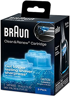 Braun Clean & Renew – Cartuchos de recambio, limpiador de repuesto, solución de limpieza (6 unidades) para serie 3, Serie 5, Serie 7 & Series 9 + Afeitadora de doble punta cepillo +