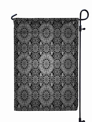 Shorping Welcome Garden Flag, 12x18Inch Colorful Pattern Textile Curtains Bright Vintage Abstract Ornament Tiles Rhombus in White Gray Black for Holiday and Seasonal Double-Sided Printing Yards Flags]()