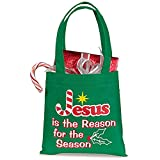 AT001 Polyester, Jesus is the Reason for the Season Christmas Tote Bag, 6'' SQ, 24pk.