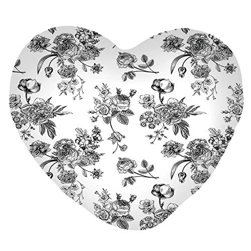 3D Printed Soft Short Plush Heart Shaped Decorative Pillowcase,Pattern Victorian Classic Royal Inspired New,Lovely Personalized Customization Fashion Pillow Case Set -