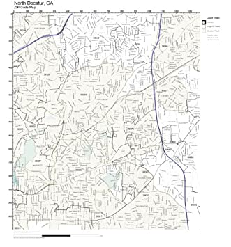 Amazon Com Zip Code Wall Map Of North Decatur Ga Zip Code Map