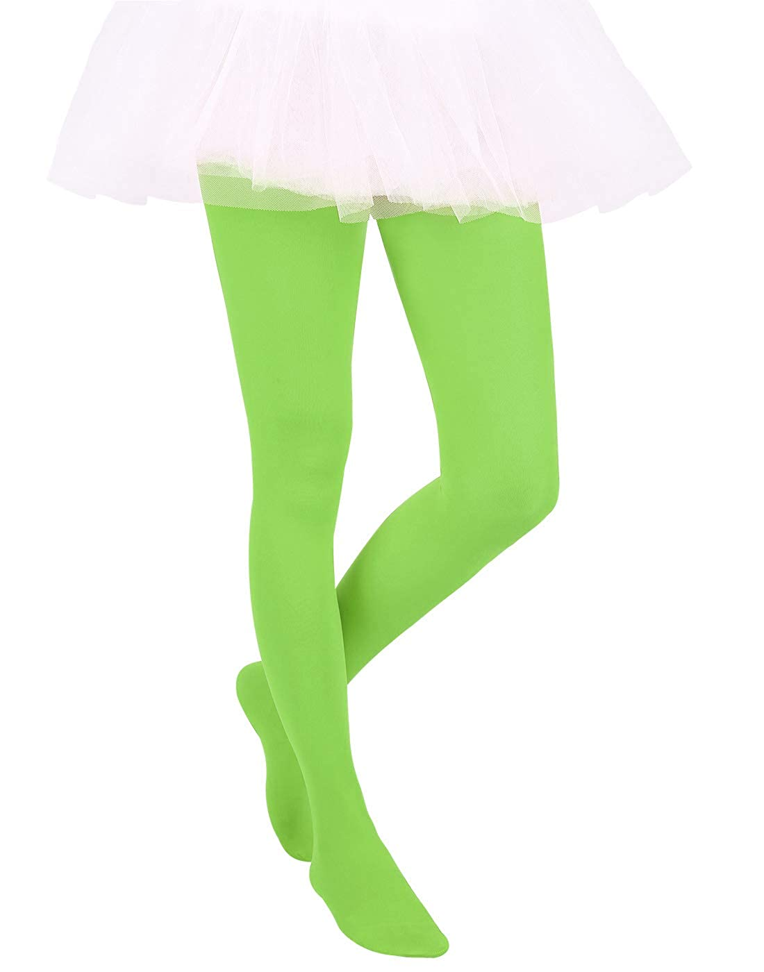 Lime Green, Small HDE Girls Stockings Microfiber Opaque Footed Kids Tights