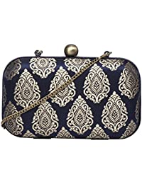 Riverdale stylish hardcase silk jacquard ethnic party evening clutches for women by Monokrome New York