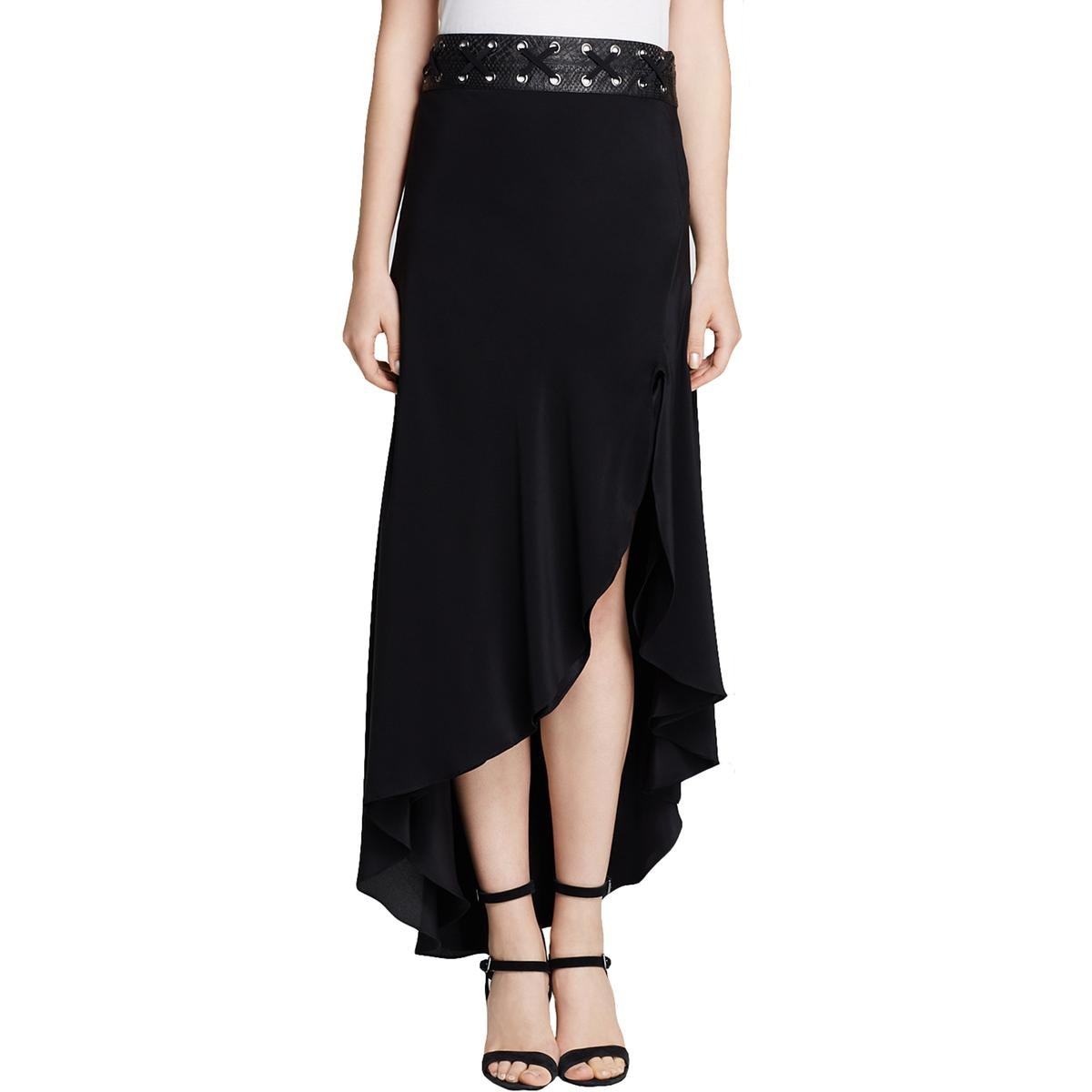 Haute Hippie Womens Silk Grommet Tulip Skirt Black 0
