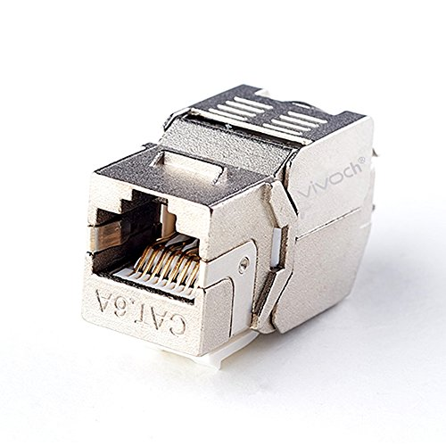(Cat6A RJ45 FTP Tool-Less Type Zinc Alloy Module Shielded Keystone Jack Adapter 10 Gigabit Modular Jack by VIVOCH (10 pcs/Pack))
