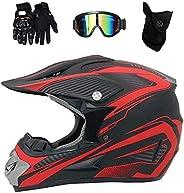 Full Face Motocross Helmet Set, with Goggles Gloves Mask, Unisex Off Road Motorcycle ATV Downhill Enduro Helme
