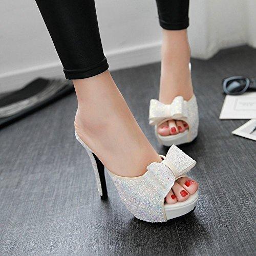 Carolbar Womens Pailletten Strikken Peep Toe Chic Platform Glanzende Datum Nachtclub Hoge Hak Sandalen Slippers Wit