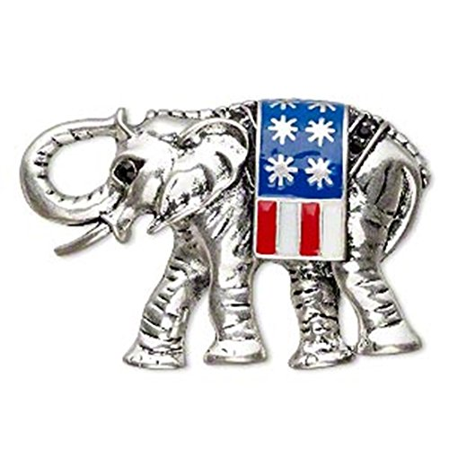 Rhinestone Elephant Pin - AzureBella Jewelry Republican Elephant Pin Brooch with USA Flag 3D with Rhinestone Accents