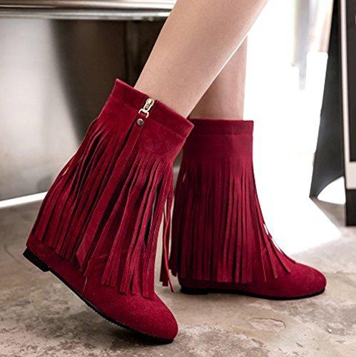 Moda Para Mujer De Aisun Con Flecos, Botines De Punta Redonda Con Cremallera, Tacones Altos, Botines De Cuña Ocultos Con Flecos Rojos