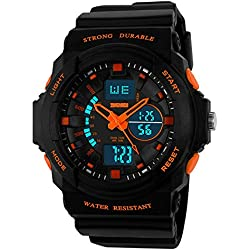 Boy's Girl's Multifunction Military S-shock Sports Wrist Watch LED Analog Water Resistant Children Kids