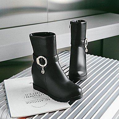 Desy Damen Stiefel bequeme Innovative Stiefel Frühling Winter Kunstleder Casual gepunktet Keilabsatz Weiß Schwarz Grau 5–�?cm schwarz