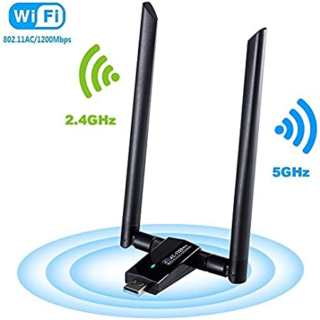 Laptop Wireless Card USB 3.0 Supports WinXP//7//8//10//vista//Linux 1300Mbps Wireless USB WiFi Adapter for PC,2.4GHz//5GHz Dual Band 5dBi High Gain Antenna Network Adapter for Desktop