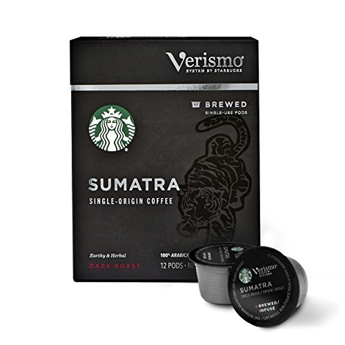 Starbucks Verismo Sumatra Brewed Coffee Single-Serve Verismo Pods, Dark Roast, 6 boxes of 12 (72 total Verismo pods) (Best Food From Starbucks)