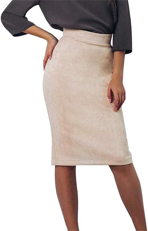 Minifaldas de cintura alta para mujer Falda hasta la rodilla con ...
