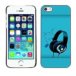 Caucho caso de Shell duro de la cubierta de accesorios de protección BY RAYDREAMMM - Apple iPhone 5 / 5S - Headphones Music Art Note Party Drawing