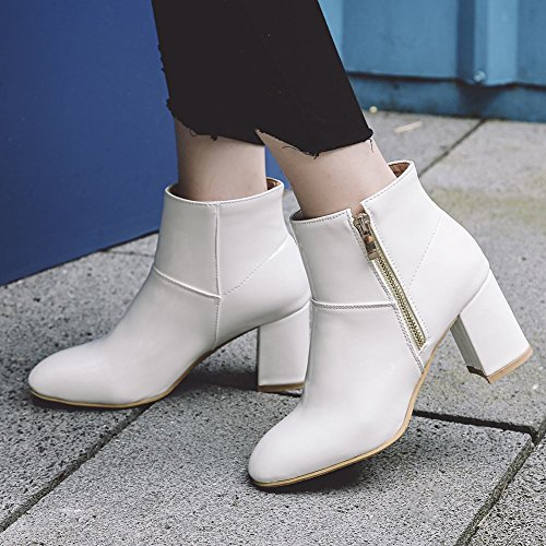 Mee Shoes Women's Chic Zip Block High Heel Short Boots White F3kmcsO4