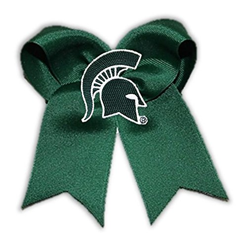 Divine Creations NCAA Michigan State Spartans Cheer Bow, One Size, Dark Green/White