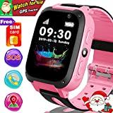 [Free SIM Card Included] Smart Watch for Kids - GPS Smartwatch for 3-12 Year Kids Boys Girls with GPS Tracker Locator SOS Anti- Lost Call Camera Touch Children Learning Toy Xmas Holiday Great Gifts