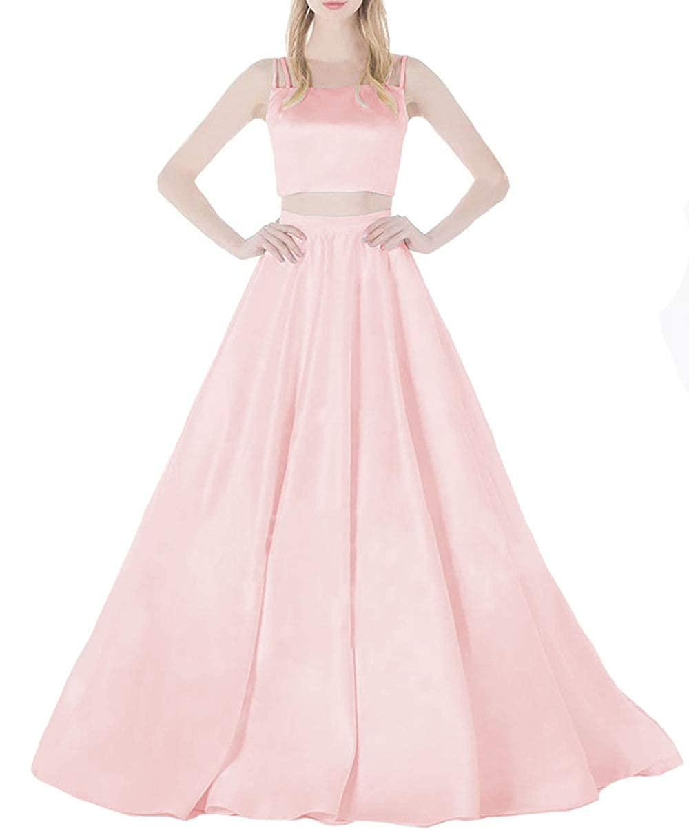 Pink IVYPRECIOUS 2 Pieces Wedding Dresses A Line Ball Gowns Satin Long Dresses for Bridal