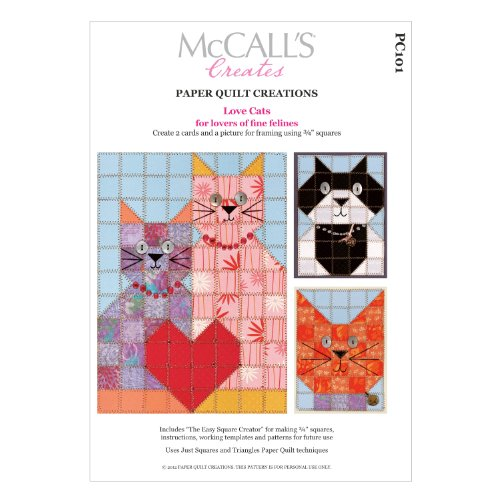 McCall's Creates W10630 Paper Quilt Creations Craft Pattern, Love Cats Picture/Card Combo