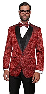 Statement BELLAGIO RED 3PC MEN'S SUIT TUXEDO WITH A VEST AND MATCHING BOW TIE.