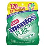 Mentos Pure Fresh Sugar-Free Chewing Gum with Xylitol, Spearmint, Stocking Stuffer, Gift, Holiday, Christmas, 120 Piece Bulk Resealable Bag (Pack of 4)