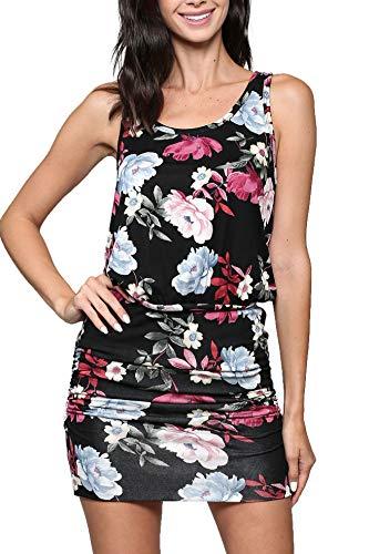 Formal Tank - LaClef Women's Mini Ruched Tank Shift Dress (Black Floral, S)