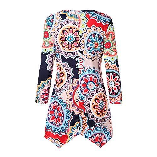 1 Imprim Lache Blouses Floral Femmes Automne Shirts KUZLO Manches Tops Tunique Stil Flowy T Longues Casual 8dwSqZO