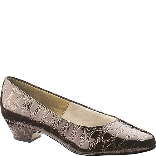 Croco Patent Shoes (Soft Style Women's Angel II Dark Brown Patent Croco Pump)