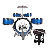E Support Wonderful Jazz Rocker Musical Instrument Drum Set Best Gift for Children with 5 Drums Chair Cymbal Drumsticks Blue