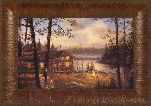 wilderness echoes by terry doughty 11x15 log cabin lake campfire framed art print wall dcor picture