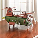 Chinook Helicopter Wine Rack - Holds Wine Bottle and 4 Stemmed Glasses