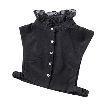 Hellery Cuello Artificial de Mitad Camisa Collar Corbata Ajustable ...