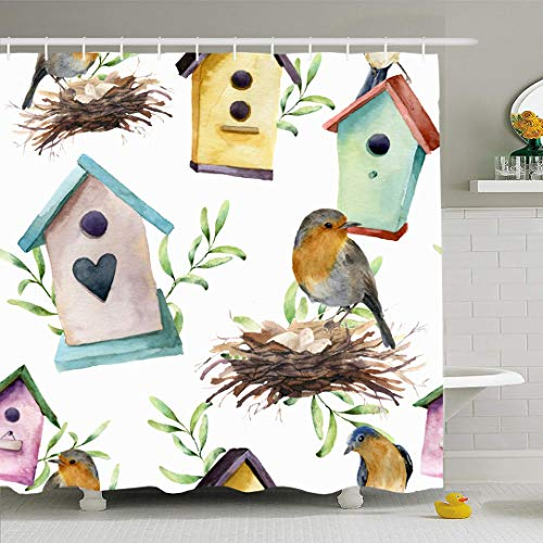Ahawoso Shower Curtain for Bathroom 72x72 Wood Red House Watercolor Pattern Bird Birdhouse Nest Eggs Nature Baby White Branch Celebration Charm Waterproof Polyester Fabric Bath Decor Set with Hooks