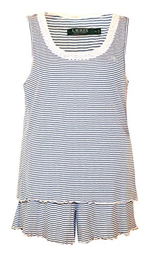 (Ralph Lauren Lace & Lettuce Edge Pointelle Tank & Shorts Pajamas (Large, Blue Cream Fine Stripes))