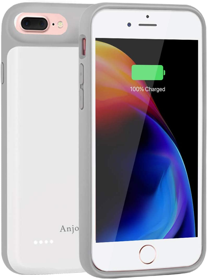 iPhone 8 Plus//7 Plus Battery Case WUEOO 7000mAh Capacity Portable Charge Case Ultra Thin Rechargeable Extended Battery Protective Power Charging Case Pack for iPhone 7 Plus//8 Plus -White 5.5 inch