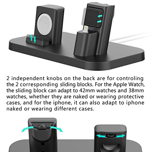 Apple Watch Stand, BEACOO Charging stand Dock Station -- Support Apple Watch NightStand Mode and iPhone 7/7 plus/SE/5s/6S/PLUS with Various Case (Black) by BEACOO (Image #2)