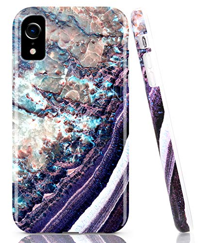 BAISRKE iPhone XR Case, Deep Purple Marble Case Slim Soft TPU Rubber Bumper Silicone Protective Phone Case Cover for iPhone XR 6.1 inch ()
