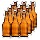 HomeBrew Heavy Duty Glass 16 oz Amber Beer Bottles with EZ Caps Reusable Environmentally Friendly for Beer Kombucha Cider Kefir (Set of 12)