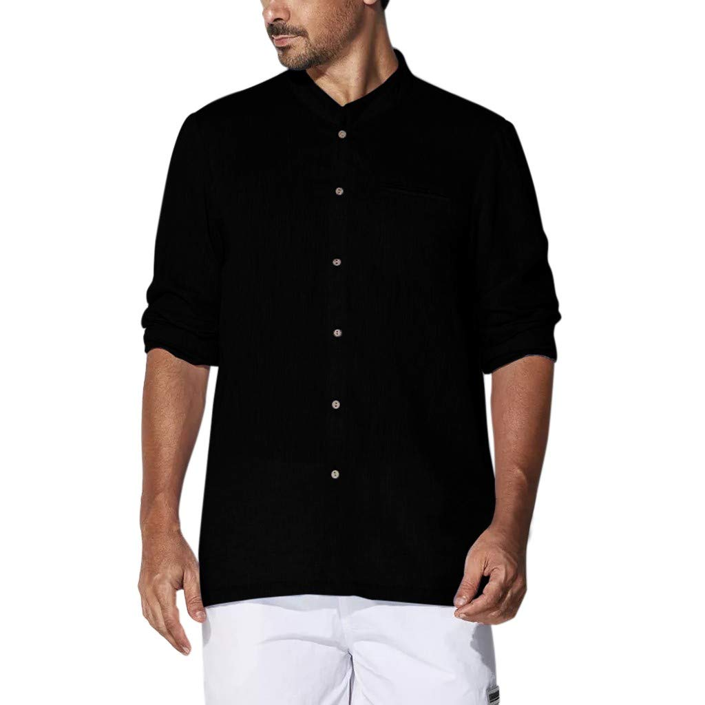 Casual Slim Fit Shirts for Men SFE Mens Baggy Cotton Linen Solid Plus Size Long Sleeve T Shirts Tops Blouses