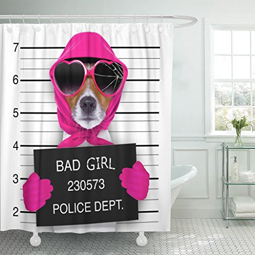 TOMPOP Shower Curtain Diva Lady Girl Dog Posing for Lovely Mugshot As Criminal and Thief with Broken Sunglasses Scarf Waterproof Polyester Fabric 72 x 72 inches Set with (Thief Sunglasses)