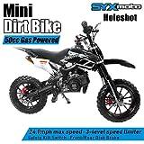 SYX MOTO Kids Mini Dirt Bike Gas Power 2-Stroke 50cc Motorcycle Holeshot Off Road Motorcycle Holeshot Pit Bike, Fully Automatic Transmission, Black