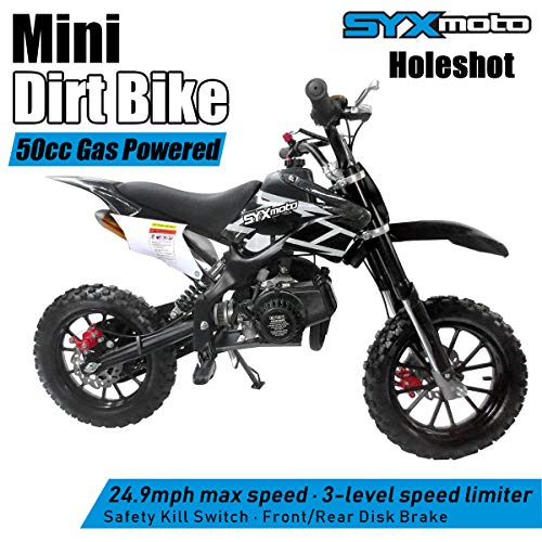 SYXMOTO Kids Mini Dirt Bike Gas Power 2-Stroke 50cc Motorcycle Holeshot Off Road Motorcycle Holeshot Pit Bike, Fully Automatic Transmission, Black