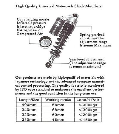Kart 320/mm Quad TRX250R 450R 400ER VTT Paire d/'amortisseurs GZYF compatibles