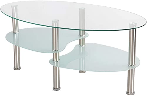 YAHEETECH Round Oval Glass Top Coffee Table Center Table Sofa Side Cocktail Table